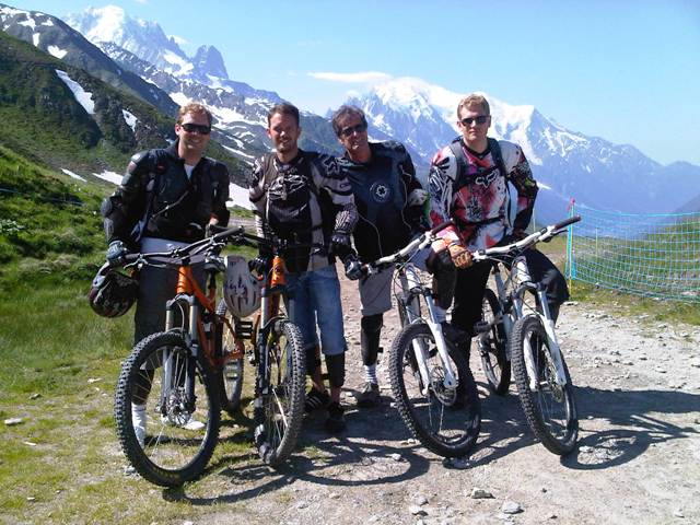 Downhill bike park in Le Tour with some clients