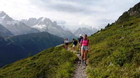 Family hiker above Chamonix