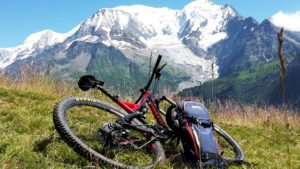 Magnificent view of Mont-Blanc after climping with E-bike