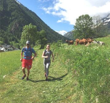 superbe chemin en bordure de forêt avec le Mont-Blanc derriere nous